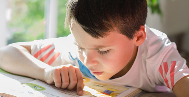 Young boy concentrates hard on reading a book